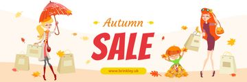 Autumn Sale Ad Women with Shopping Bags | Email Header Template