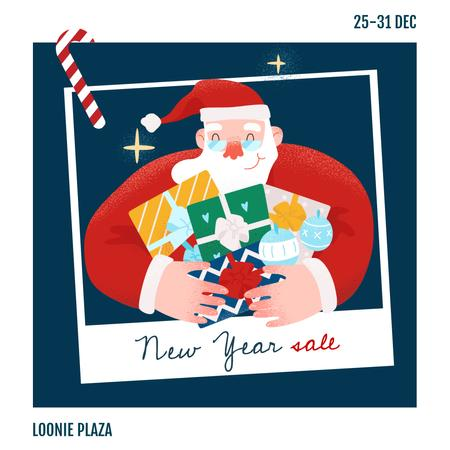 Template di design New Year Sale Santa with Gifts Instagram