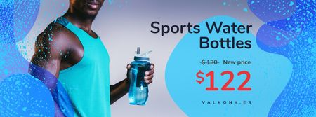 Man with Bottle of Water During Workout in Blue Facebook cover Modelo de Design