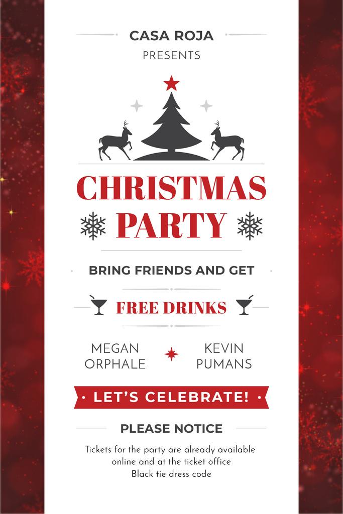 Christmas Party Invitation with Deer and Tree - Bir Tasarım Oluşturun