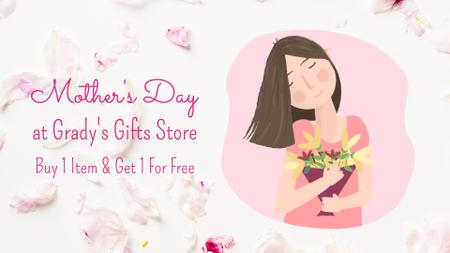Plantilla de diseño de Mother's Day Greeting Dreamy Girl Holding Bouquet Full HD video