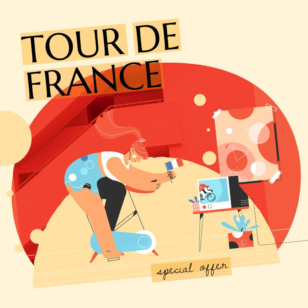 Tour De France Offer with Girl Riding Bicycle — Modelo de projeto
