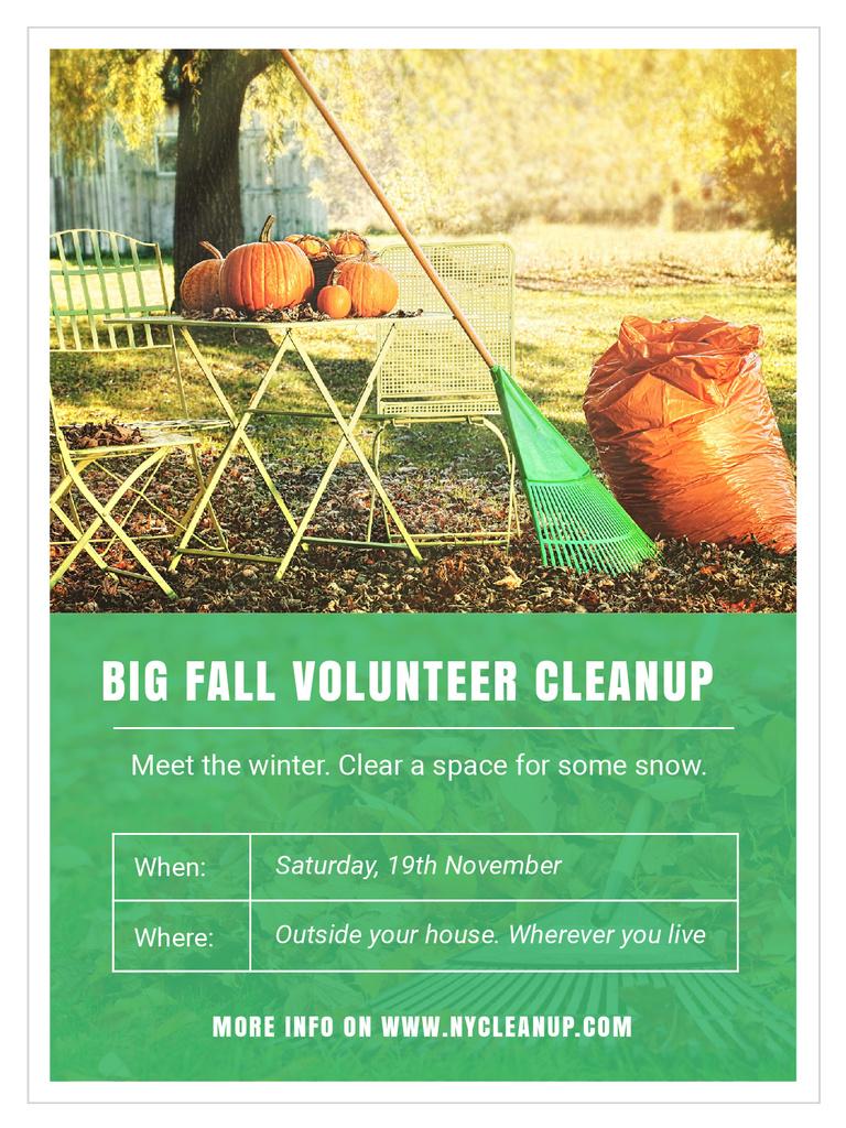Volunteer Cleanup with Pumpkins in Autumn Garden — Crea un design