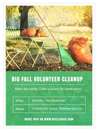 Modèle de visuel Volunteer Cleanup with Pumpkins in Autumn Garden - Poster US