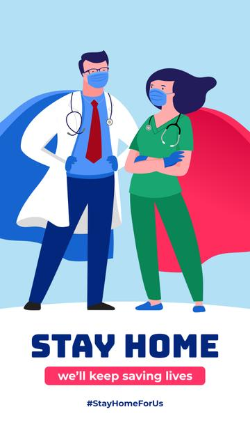 #StayHomeForUs Doctors in Superhero costumes Instagram Story – шаблон для дизайна