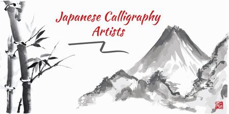 Japanese calligraphy banner Image Modelo de Design