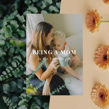 Mother's Day Greeting with Child and Loving Mom