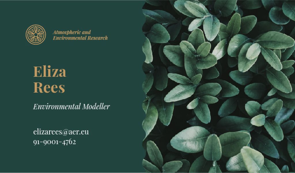 Green Plant Leaves | Business Card Template — Crea un design