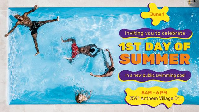 Modèle de visuel First Day of Summer invitation People Swimming in Pool - FB event cover