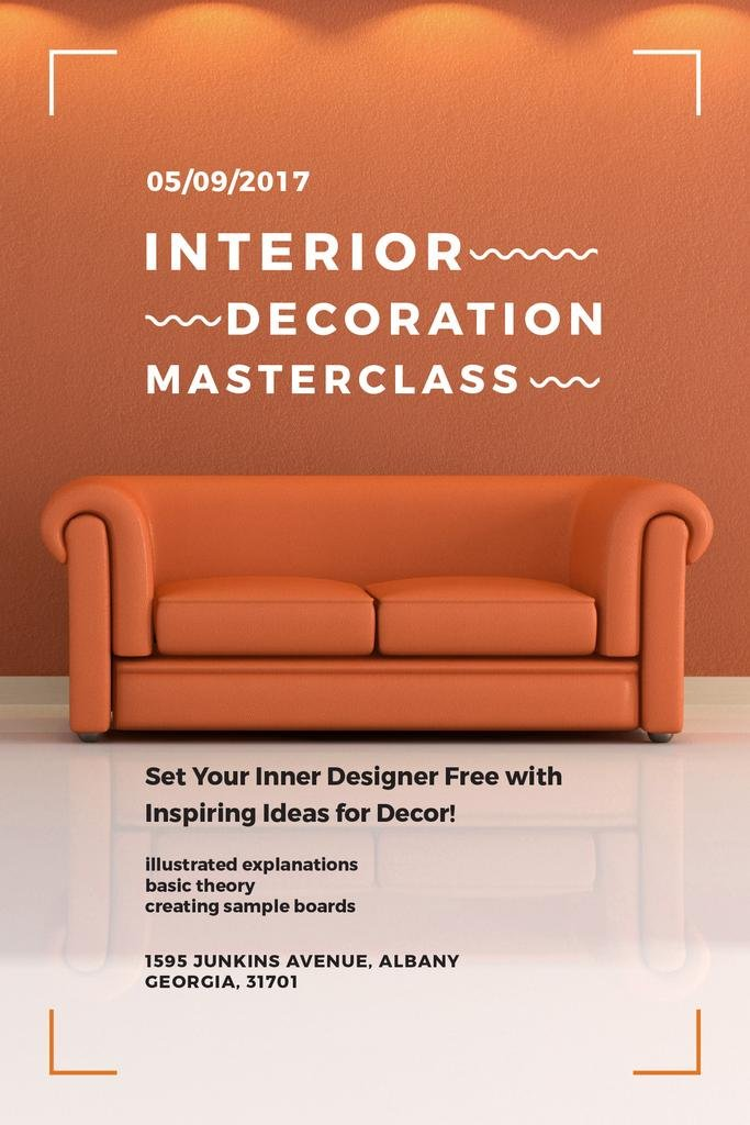 Interior Decoration Event Announcement with Sofa in Red — Maak een ontwerp