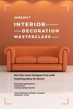 Interior Decoration Event Announcement Sofa in Red | Pinterest Template