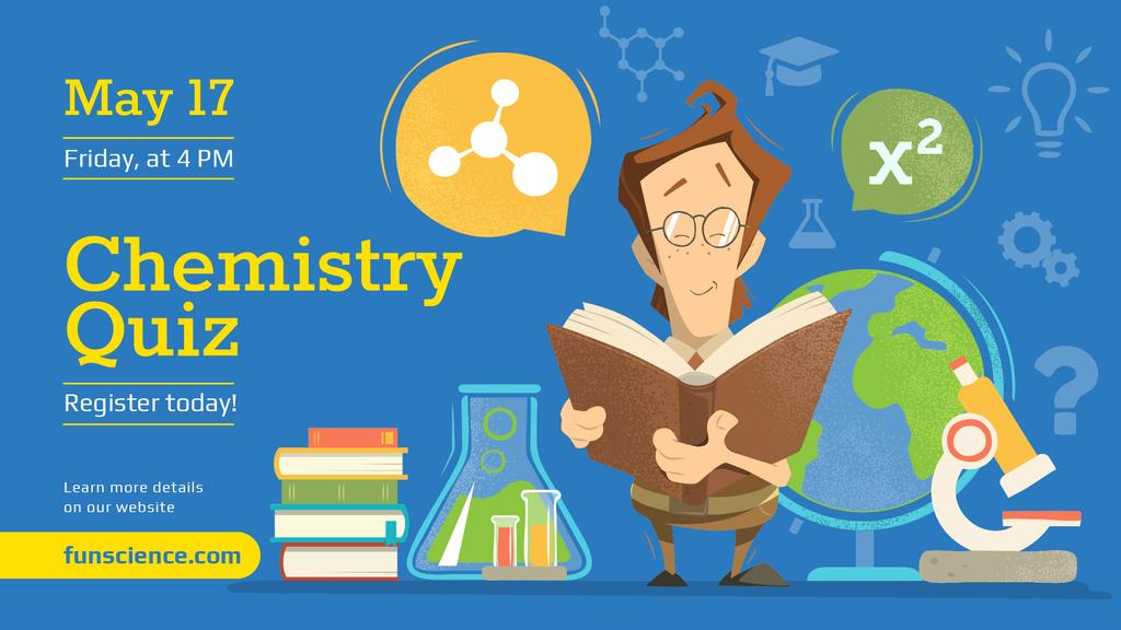 Chemistry Event Announcement Scientist Reading Book | Facebook Event Cover Template — Создать дизайн