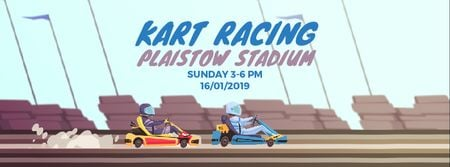 Ontwerpsjabloon van Facebook Video cover van Karts racing on track