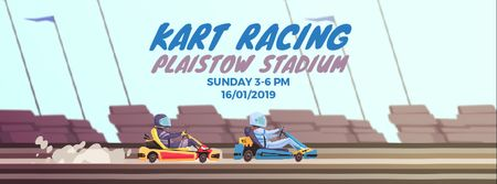 Karts racing on track Facebook Video cover – шаблон для дизайна