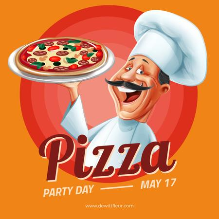 Pizza Party Day with Smiling Chef Instagram Modelo de Design