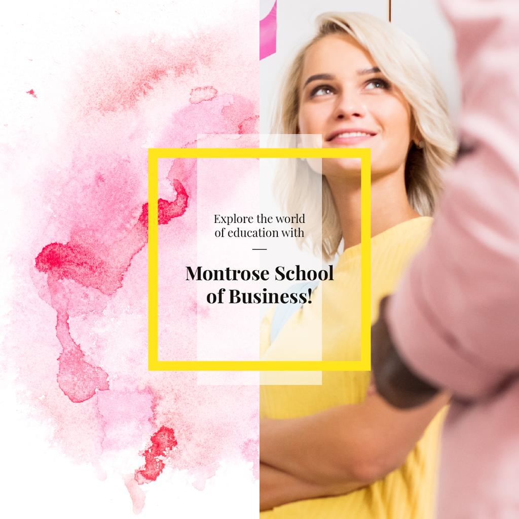 Business School Ad confident Young Woman in Pink — Modelo de projeto