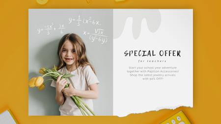 Back to School Offer Girl with Tulips Bouquet Full HD video Modelo de Design