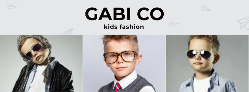 Clothing Store Ad with Stylish Kids Facebook cover Modelo de Design