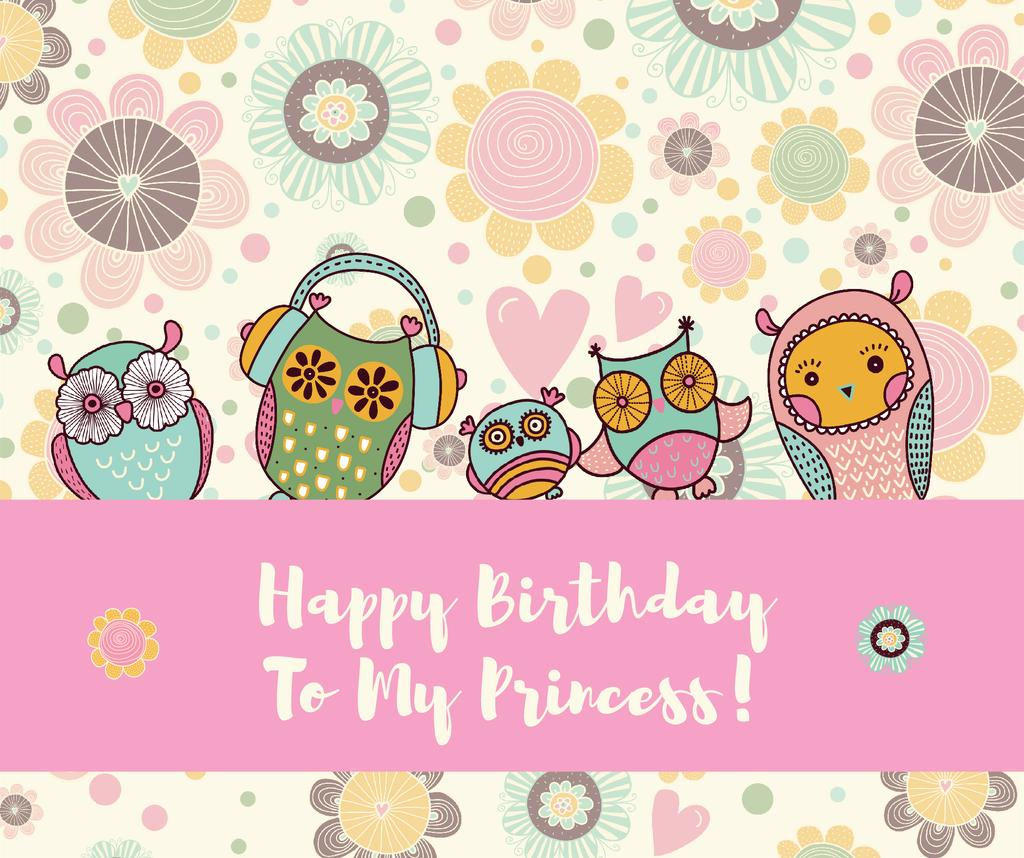 Happy Birthday Greeting Card Facebook Post Template Design Online