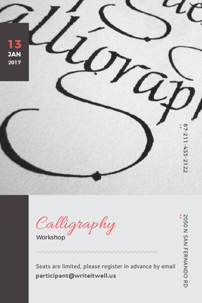 Calligraphy Workshop Announcement Decorative Letters — Modelo de projeto
