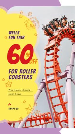Ontwerpsjabloon van Instagram Story van Roller coaster in Amusement Park