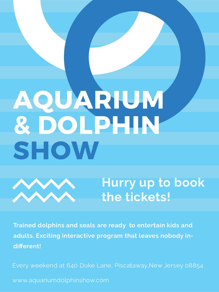 Aquarium Dolphin show invitation in blue — ein Design erstellen