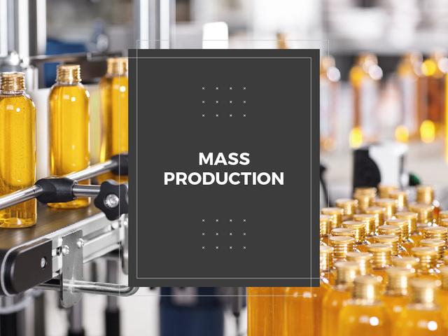 Bottles with liquid at factory conveyor Presentation Design Template