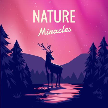 Modèle de visuel Magical Deer in Forest at Night - Animated Post