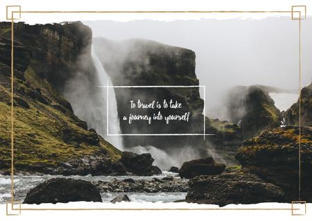 Template di design Scenic waterfall in mountains Postcard