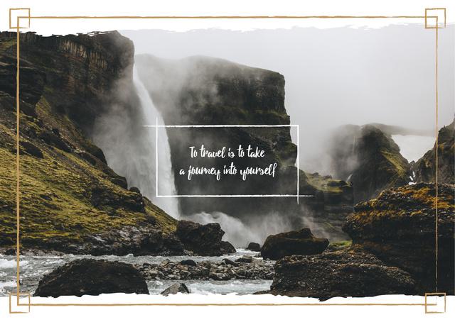 Szablon projektu Scenic waterfall in mountains Postcard
