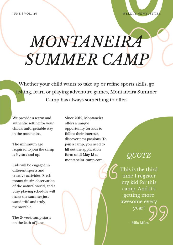 Summer Camp Overview Newsletter Design Template