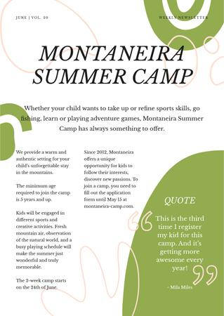Summer Camp Overview Newsletter Modelo de Design