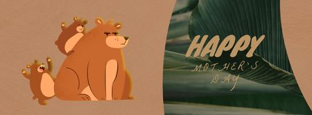 Template di design Mom bear with little cubs on Mother's Day Facebook Video cover