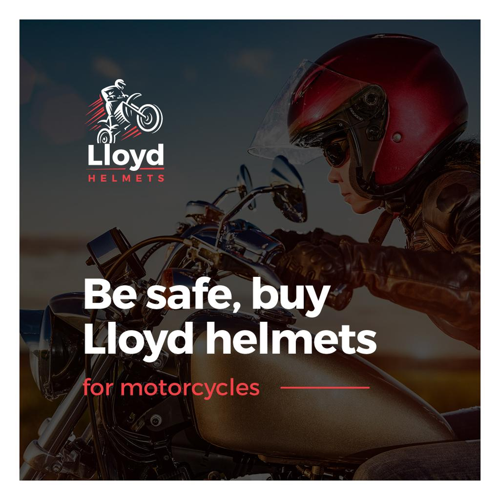 advertisement banner with young woman in red helmet — Create a Design