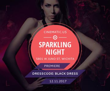 Night Party Invitation Woman in Glamorous Outfit | Large Rectangle Template