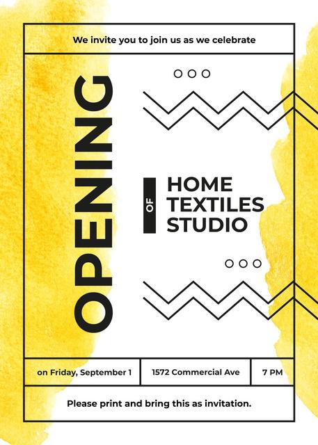 Textile Studio promotion on Yellow paint blots Invitation – шаблон для дизайну