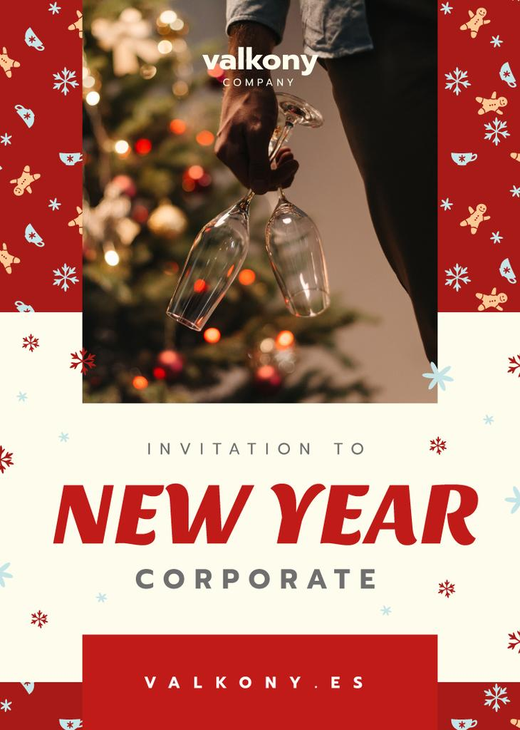 New Year Corporate Party Invitation Man with Champagne — Créer un visuel