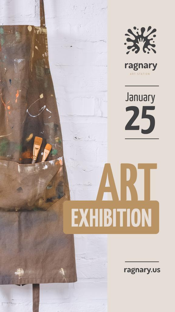 Art Exhibition Announcement Apron with Brushes — Crear un diseño