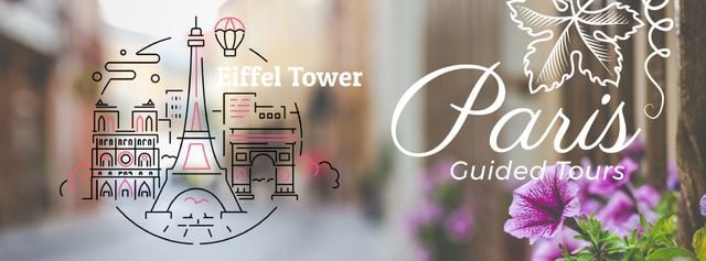 Paris famous travelling spots Facebook Video coverデザインテンプレート