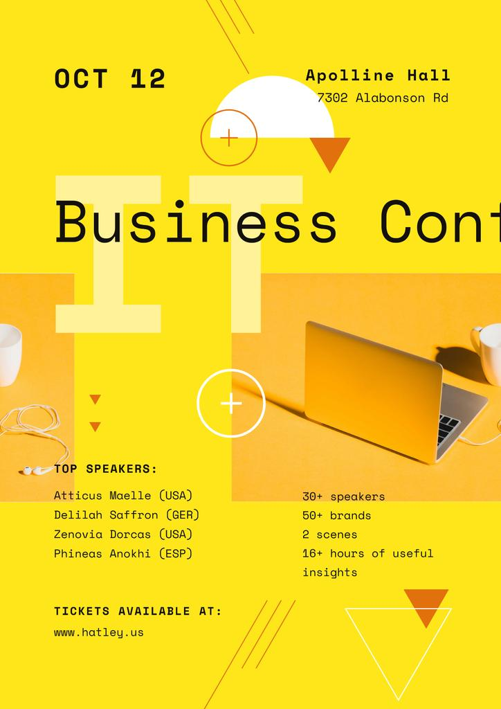 Business Conference Announcement with Laptop in Yellow – Stwórz projekt