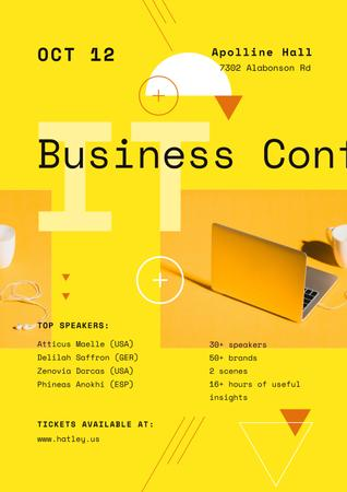 Business Conference Announcement with Laptop in Yellow Poster Tasarım Şablonu