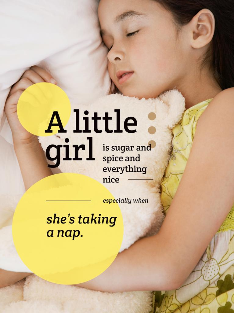 Cute little girl sleeping — Створити дизайн