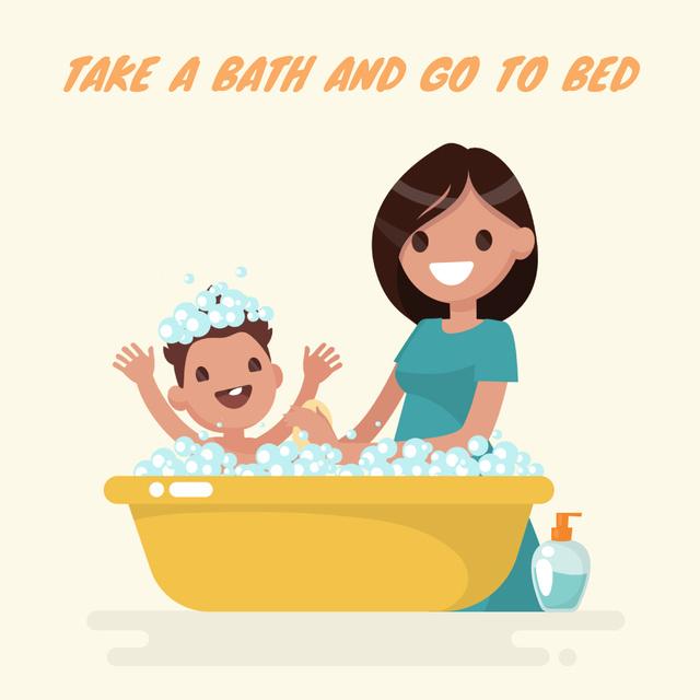 Plantilla de diseño de Mother bathing child Animated Post