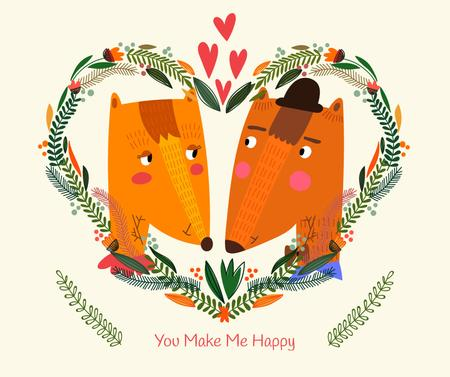 Plantilla de diseño de Valentine's Day card with Foxes Facebook