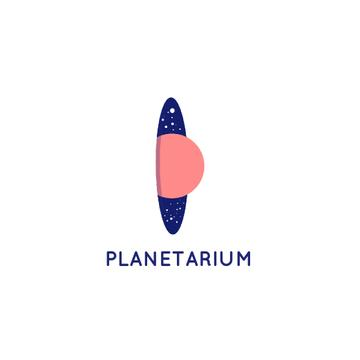 Planetarium Promotion Planet and Stars in Space | Logo Template