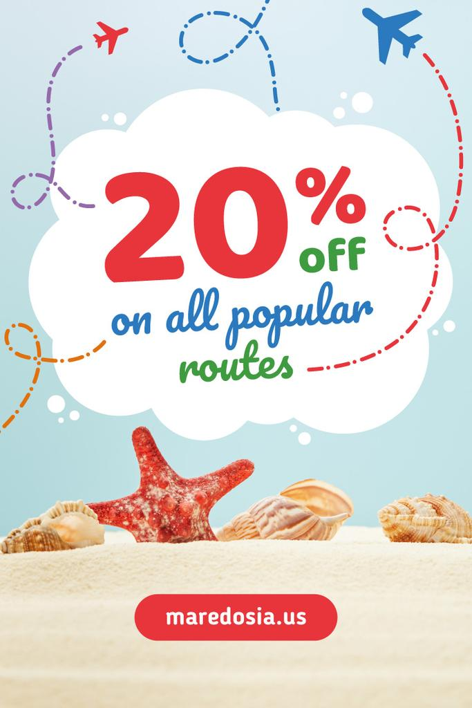 Travelling Tour Ad with Shells on Sand for Pinterest — Create a Design