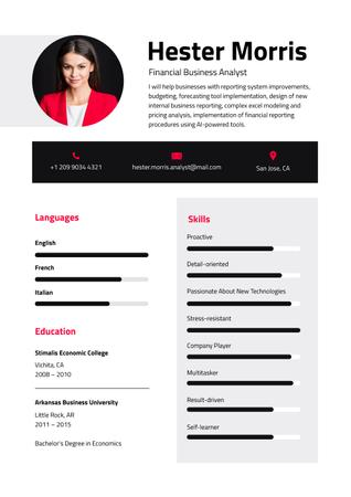 Template di design Business Analyst professional skills and experience Resume