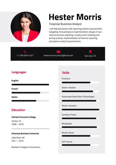Business Analyst professional skills and experience Resume Modelo de Design