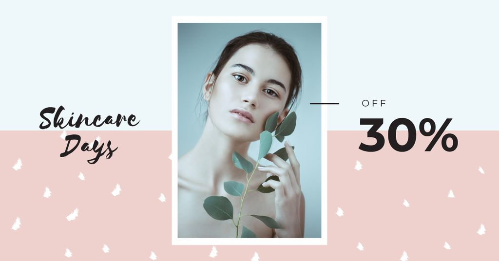 Cosmetics Offer Young Girl Without Makeup | Facebook Ad Template — Створити дизайн