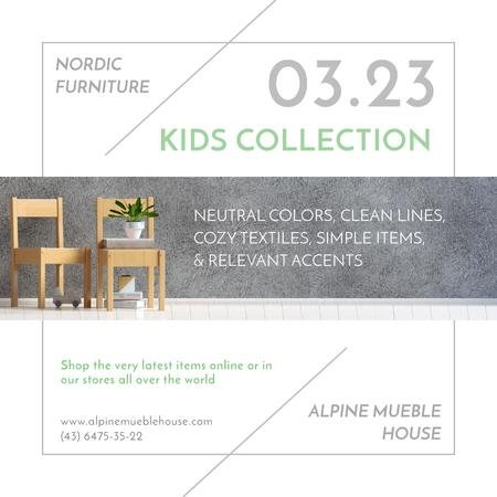 Kids Furniture Sale with wooden chairs Instagram ADデザインテンプレート